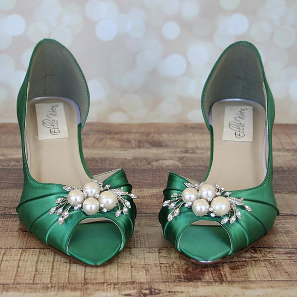 cc60ce8bf07 Custom Wedding Shoes Emerald Green Dorsay Peep Toe Kitten Heels Pearl and Rhinestone  Adornment 2