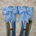 Custom Wedding Shoes French Blue Platform Peep Toe Wedding Shoes with Gold Painted Sole and Matching Bow on Back of Shoe 1