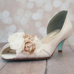 Custom Wedding Shoes Ivory D'Orsay Kitten Heel Peep Toe Wedding Shoes Ivory Champagne Flowers Tiffany Blue Sole