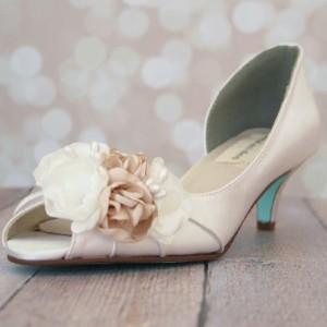 Custom Wedding Shoes Ivory D'Orsay Kitten Heel Peep Toe Wedding Shoes Ivory Champagne Flowers Tiffany Blue Sole