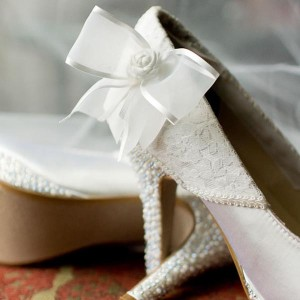Custom Wedding Shoes Ivory Partial Lace Overlay Heel Rosette Bow Crystal and Pearl Heel