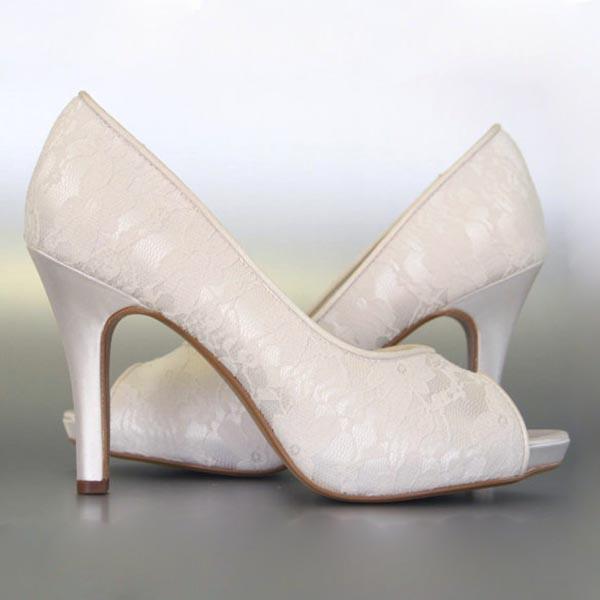 bbd5efd3ca6d Custom Wedding Shoes Ivory Platform Peep Toe Lace Overlay
