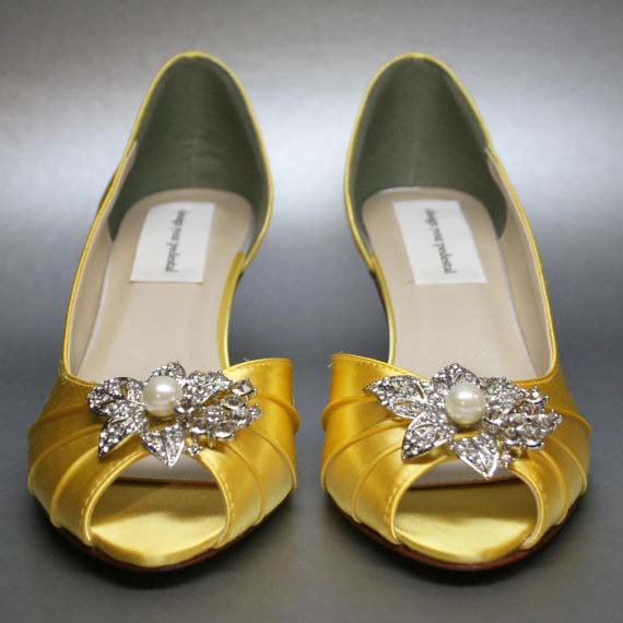 Custom Wedding Shoes Mango Yellow D'Orsay Kitten Heel Wedding Shoes Silver Crystals Rhinestone Pearl Adornment