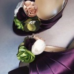 Custom Wedding Shoes Plum D'Orsay Kitten Heel Peep Toe Wedding Shoes Plum Green Beige Flowers