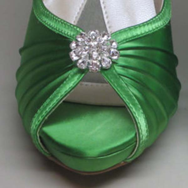 Green Wedding Shoes Green Platform Peeptoes with Rhinestone Adornment