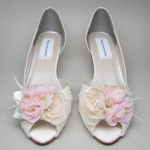 Ivory Wedding Shoes Ivory Satin Kitten Heels with Lace Overlay and Ivory and Pink Flower Adornment