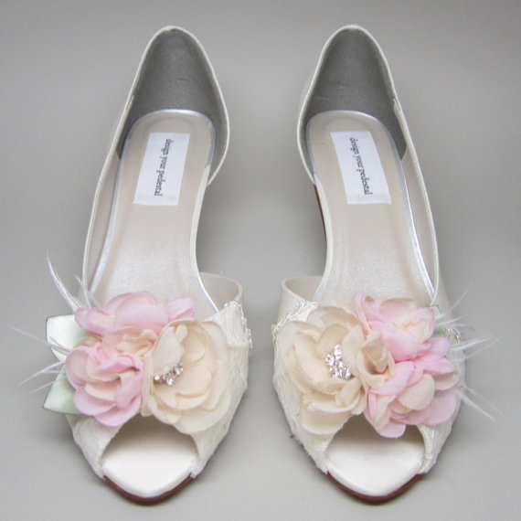 9dc23a8564f Ivory Wedding Shoes Ivory Satin Kitten Heels with Lace Overlay and Ivory  and Pink Flower Adornment