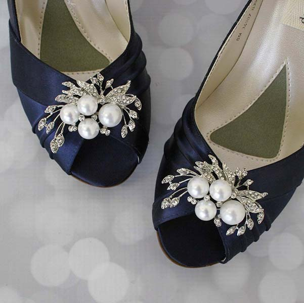 Navy Blue Peep Toe Custom Wedding Shoes with Pearl and Rhinestone Adornment on Toe 4