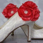 Custom Wedding Shoes Ivory Closed Toe Wedding Shoes Ivory Lace Overlay Coral Pink Flowers Silver Crystal Heel