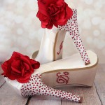 Custom Wedding Shoes Ivory Platform Peep Toe Wedding Shoes Silver Red Crystal Heel Red Roses Flowers I Do Crystals