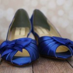 Custom Wedding Shoes Royal Blue DOrsay Kitten Heel Wedding Shoes Matching Bow