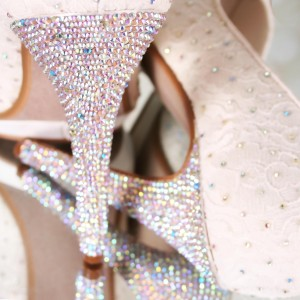 AB Crystal Heel Custom Wedding Shoes