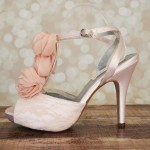 Blush Platform Peep Toe T Strap Custom Wedding Shoes Ellie Wren Lace Overlay Chiffon Flower Wedding Shoes