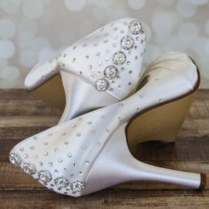 Crystal Button Wedding Shoes Crystal Starburst Heel Custom Wedding Shoes