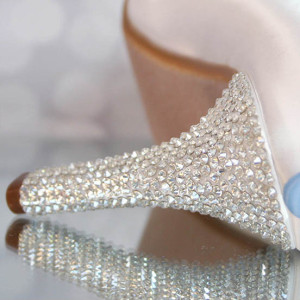 Crystal Covered Heel Packed Custom Wedding Shoes