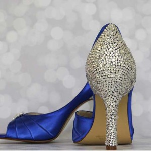 Crystal Covered Heel and Heel Cup Multi Sized Packed Custom Wedding Shoes