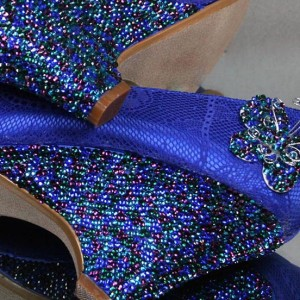 Crystal Heel Peacock Pattern Custom Wedding Shoes