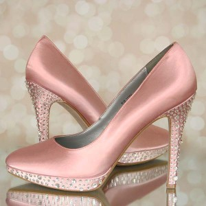 Crystal Heel and Platform Multi Sized Crystals Spaced Out Custom Wedding Shoes