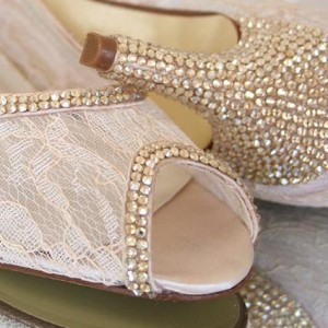 Crystal Trim and Heel Custom Wedding Shoes