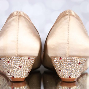 Crystal Wedge Heel Pops of Color Custom Wedding Shoes
