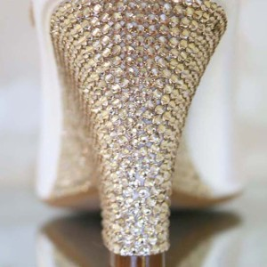 Crystal Wedge Heel Same Sized Packed Custom Wedding Shoes