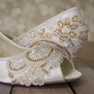 Custom Lace Applique Toe and Heel Custom Wedding Shoes