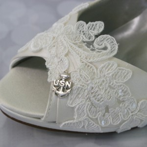 Custom Lace Overlay Custom Navy Charm Military Wedding Custom Wedding Shoes