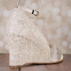 Custom Lace Overlay Pearl Accents Custom Wedding Shoes