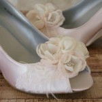 Custom Wedding Shoes Blush Peep Toe Wedges with Lace Toe Chiffon Flowers 3