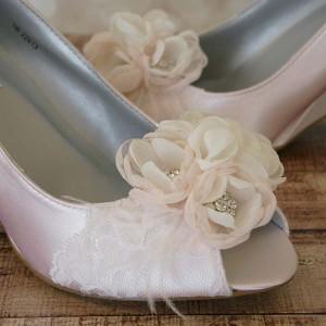 Custom Wedding Shoes Blush Peep Toe Wedges with Lace Toe Chiffon Flowers 3