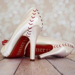 Custom Wedding Shoes Platform Peep Toe Ivory Baseball Wedding Shoes