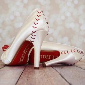 Custom Wedding Shoes Platform Peep Toe Ivory Baseball Wedding Shoes