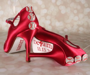Custom Wedding Shoes Red Peeptoe Mary Jane Baseball Wedding Shoes with Baseball Buttons and Save the Date 4