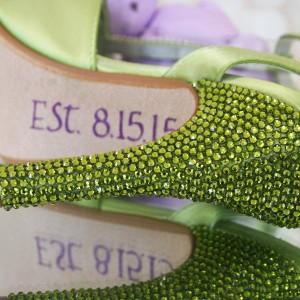 Custom Wedding Shoes Spring Green Platform TStrap Lilac Purple Flowers Crystal Heel Save the Date 2