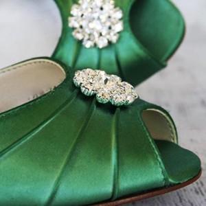 Custom Wedding Shoes Color Palette Emerald Green