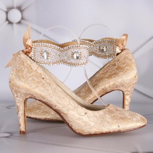 Gold Lace Wedding Shoes with Handmade Crystal Anklet Design Your Own Wedding Shoes