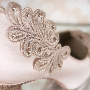 Lace Applique Heel Light Crystals Custom Wedding Shoes