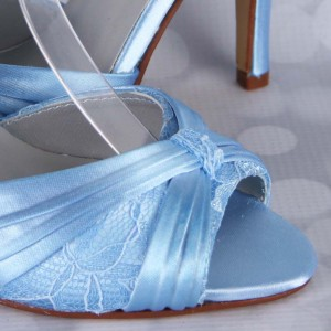 Lace Overlay Under Ruching Custom Wedding Shoes