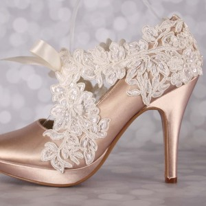 Lace Overlay to Sash Custom Wedding Shoes