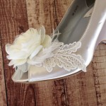 Ivory Wedding Shoes Chiffon Flower with Lace Leaves Design Your Own Wedding Shoes