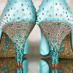 Ombre Crystal Heel to Starburst Heel Cup Custom Wedding Shoes
