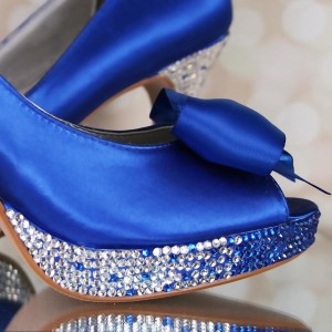 Ombre Crystal Platform Custom Wedding Shoes