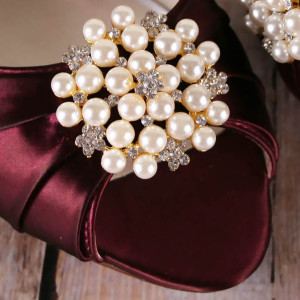 Pearl Cluster with Silver Crystals Gold Finding Custom Wedding Shoes
