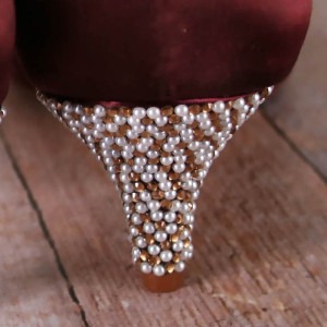 Pearl and Crystal Heel Custom Wedding Shoes