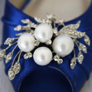 Pearl and Rhinestone Adornment Custom Wedding Shoes