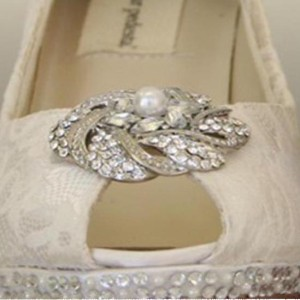 Pearl and Rhinestone Cluster Adornment Custom Wedding Shoes