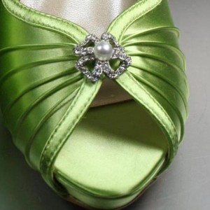 Pearl and Rhinestone Cross Adornment Custom Wedding Shoes