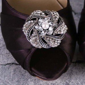 Rhinestone and Pearl Adornment Black Tones Custom Wedding Shoes