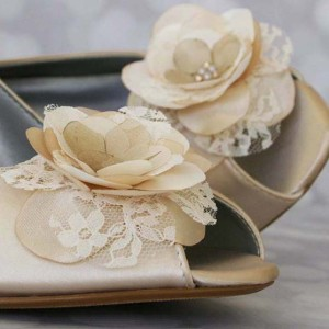Dark Ivory Wedding Shoes Wedges Satin and Lace Flowers Design Your Own