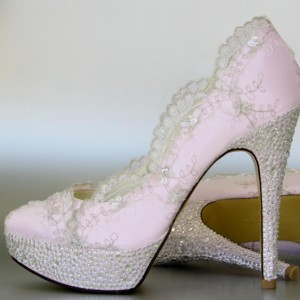 Scalloped Embroidered Lace Overlay Custom Wedding Shoes